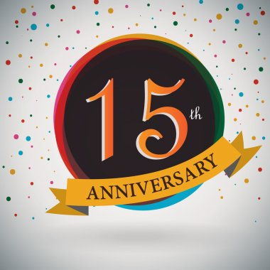 15th Anniversary poster, template design in retro style - Vector Background