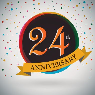 24th Anniversary poster, template design in retro style - Vector Background