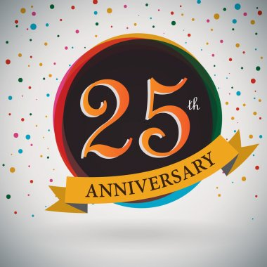 25th Anniversary poster, template design in retro style - Vector Background