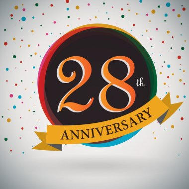 28th Anniversary poster, template design in retro style - Vector Background