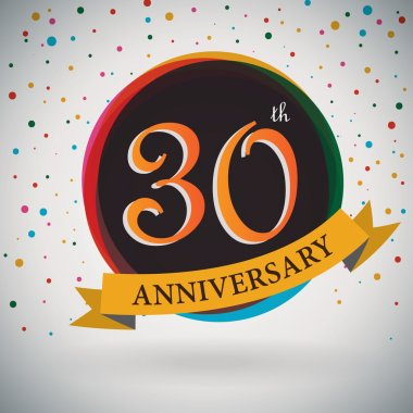 30th Anniversary poster, template design in retro style - Vector Background