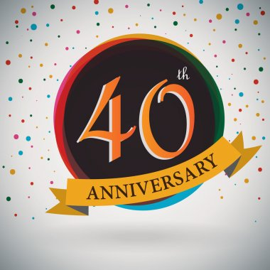 40th Anniversary poster, template design in retro style - Vector Background