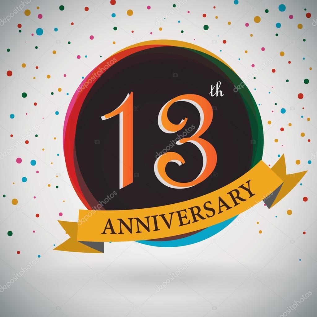 13 cartel de aniversario, diseño de plantillas de estilo retro ...