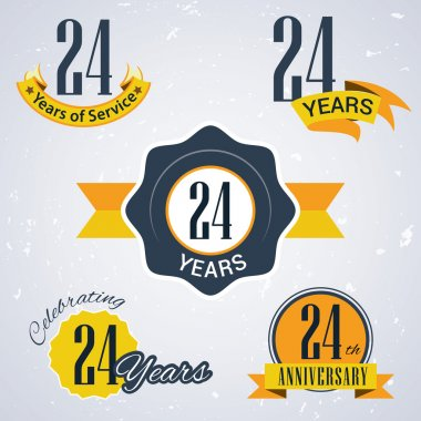 24 years of service, 24 years . Celebrating 24 years , 24th Anniversary - Set of Retro vector Stamps and Seal for business