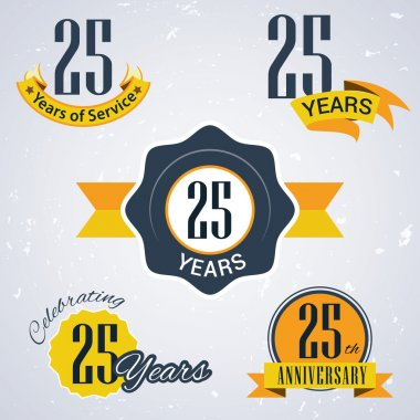 25 years of service, 25 years . Celebrating 25 years , 25 th Anniversary - Set of Retro vector Stamps and Seal for business