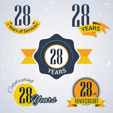 28 years of service, 28 years . Celebrating 28 years , 28th Anniversary - Set of Retro vector Stamps and Seal for business