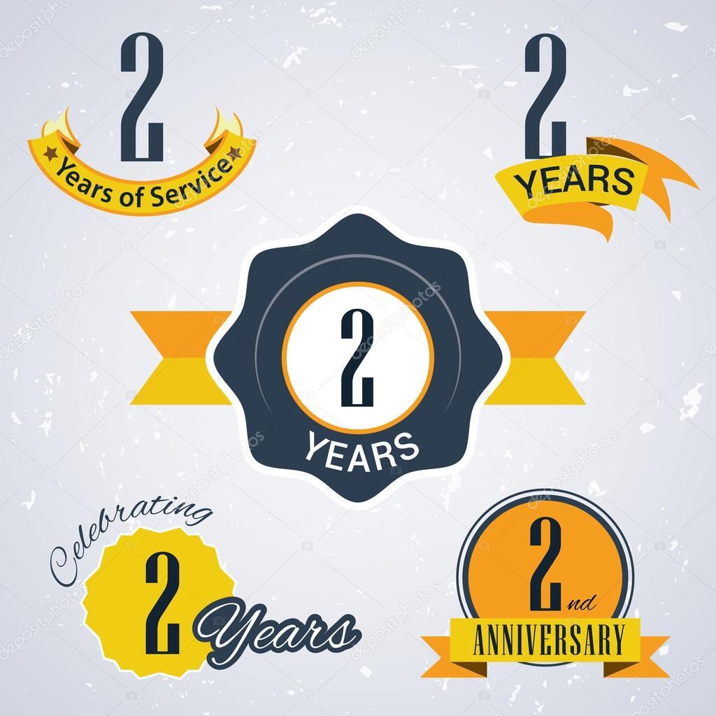 2 Jaar Dienst 2 Jaar 2 Jaar Vieren 2de Verjaardag Set Van Retro