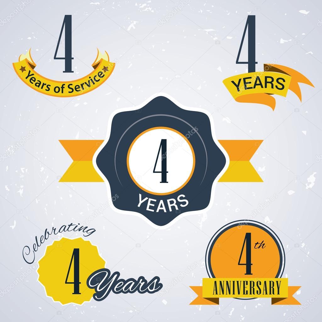 2周年纪念_4 年的服务 4 年。庆祝 4 年,四周年纪念日-复古矢量邮票和密封 ...