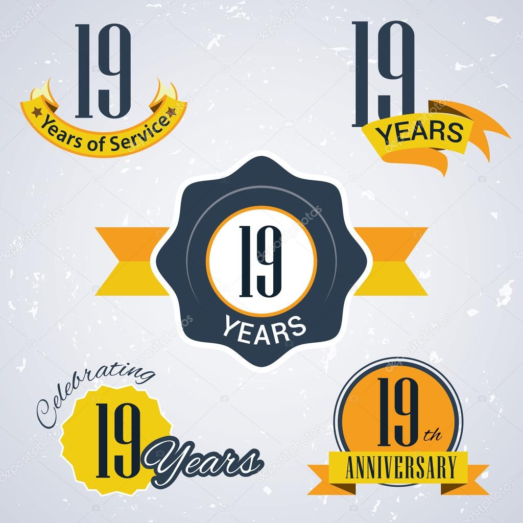 19 years of service, 19 years . Celebrating 19 years , 19th Anniversary - Set of Retro vector Stamps and Seal for business