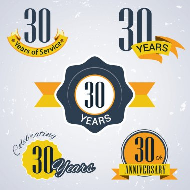 30 years of service, 30 years . Celebrating 30 years , 30th Anniversary - Set of Retro vector Stamps and Seal for business
