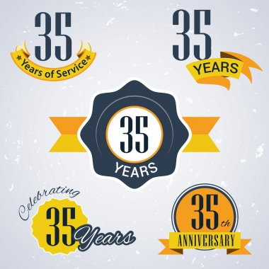 35 years of service, 35 years . Celebrating 35 years , 35th Anniversary - Set of Retro vector Stamps and Seal for business