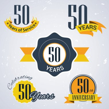 50 years of service,  50 years . Celebrating 50 years , 50th Anniversary - Set of Retro vector Stamps and Seal for business