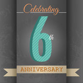 Fotografie 6th Anniversary poster , template design in retro style - Vector Background