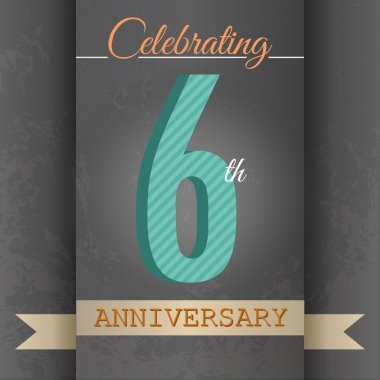 6th Anniversary poster , template design in retro style - Vector Background