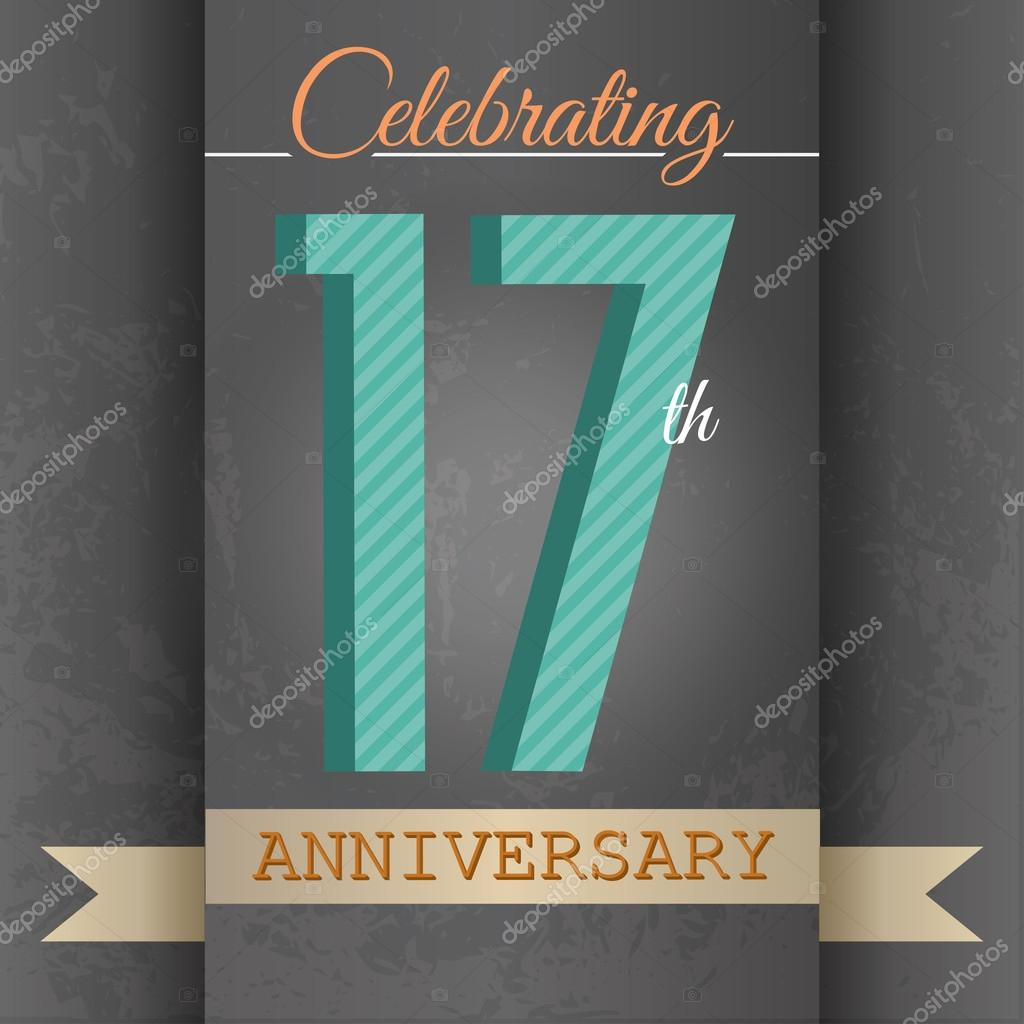 17th Anniversary poster , template design in retro style - Vector Background