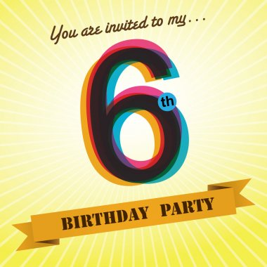 6th Birthday party invite, template design in retro style - Vector Background