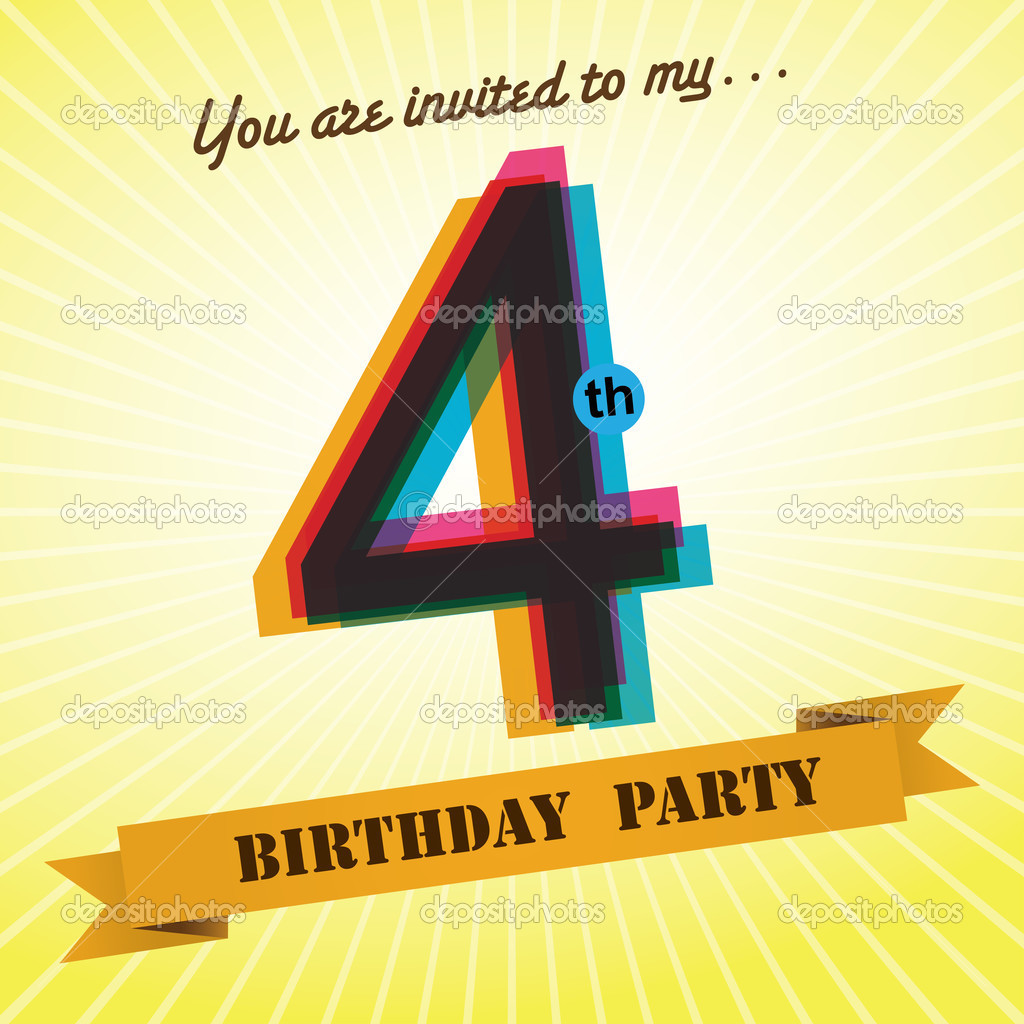 4th Birthday Party Invite Template Design In Retro Style