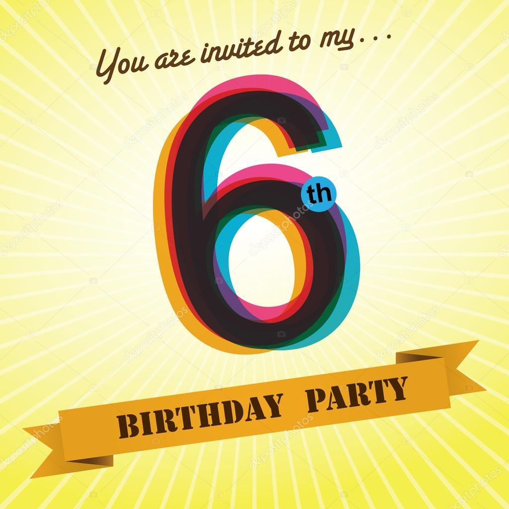 6th Birthday Party Invite Template Design In Retro Style