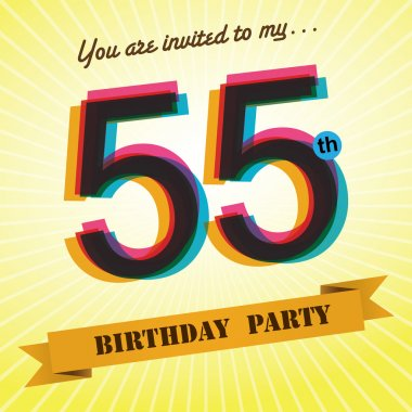 55th Birthday party invite, template design in retro style - Vector Background