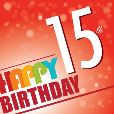 15th Birthday party invite,template design in bright and colourful retro style - Vector