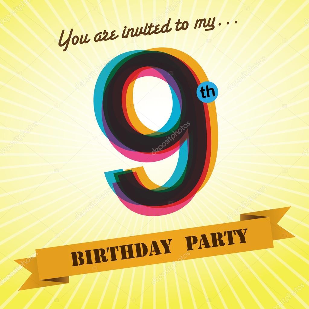 9th Birthday Party Invite Template Design In Retro Style