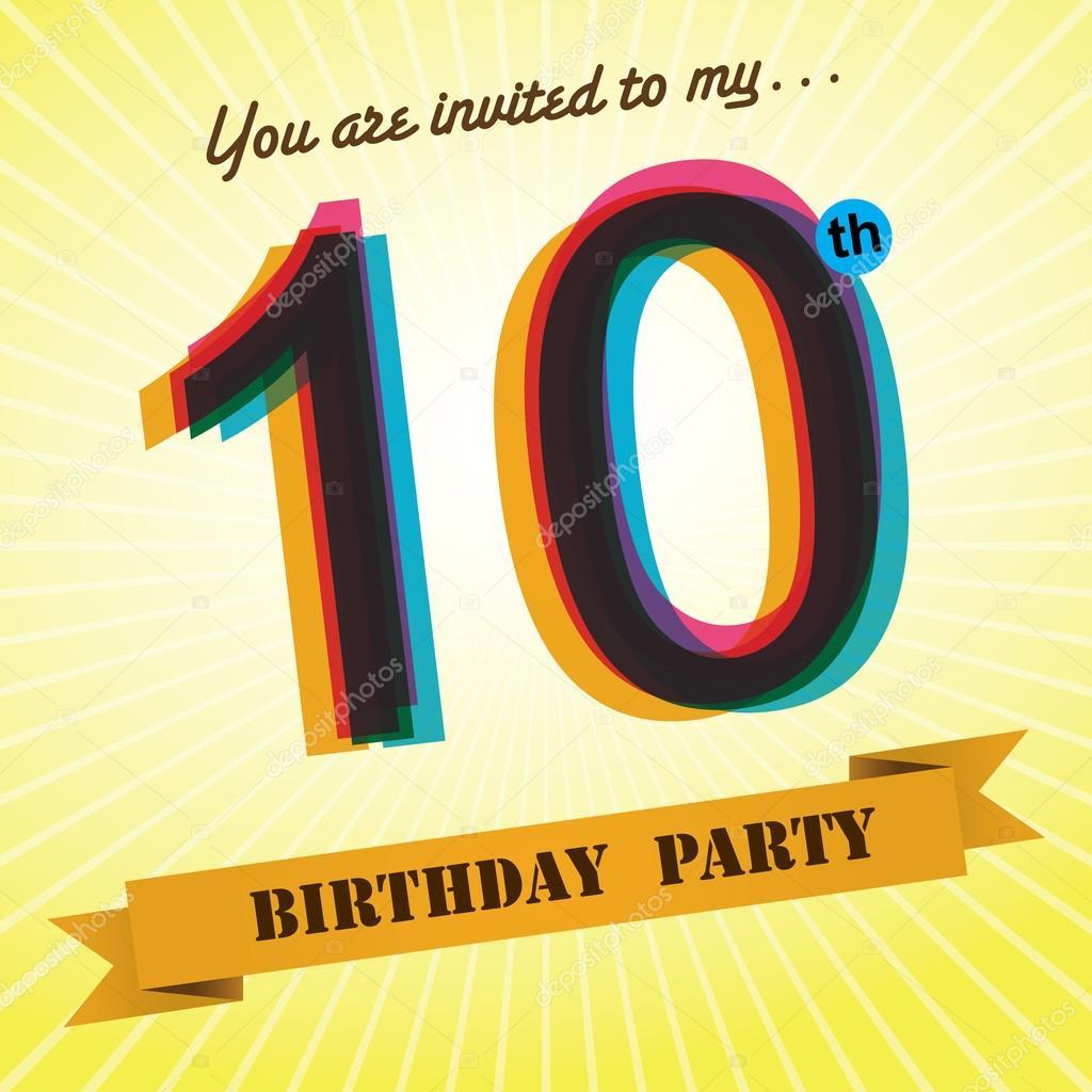 10th Birthday party invite, template design in retro style - Vector ...