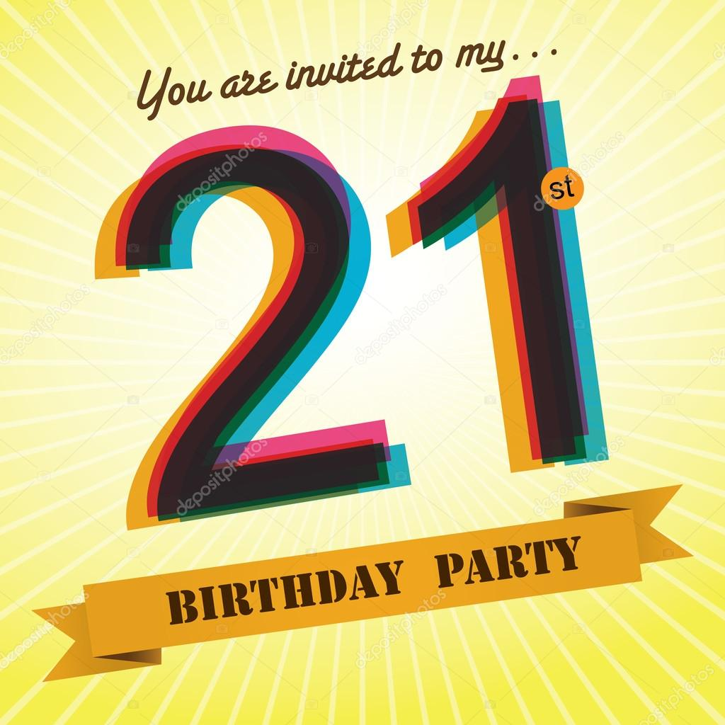 21st Birthday Party Invite Template Design In Retro Style Vector