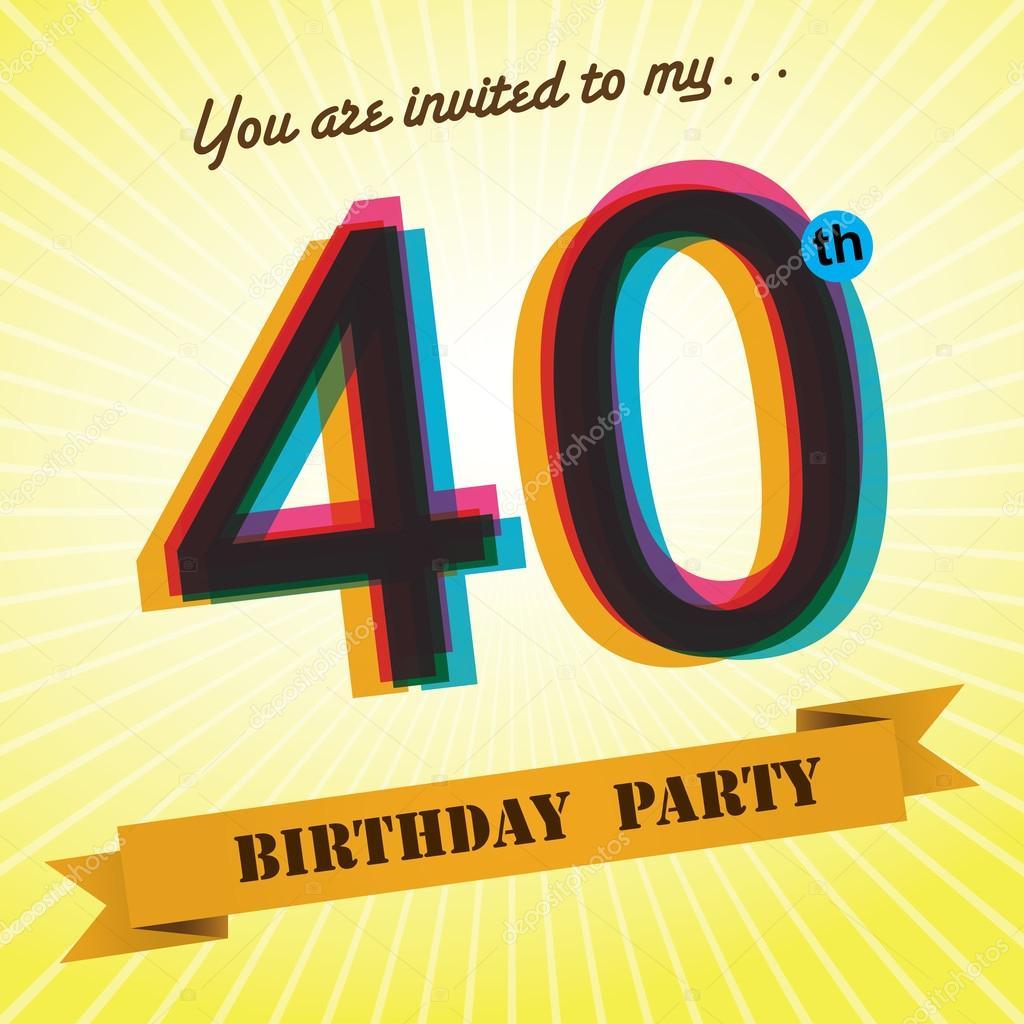 40th birthday party invite template design in retro style vector