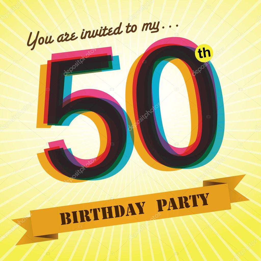50th Birthday party invite, template design in retro style - Vector ...