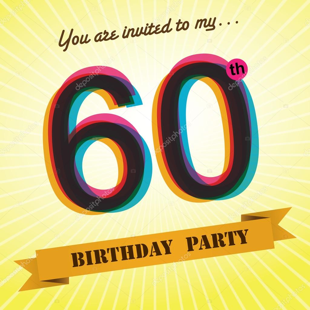 60th Birthday party invite, template design in retro style - Vector ...