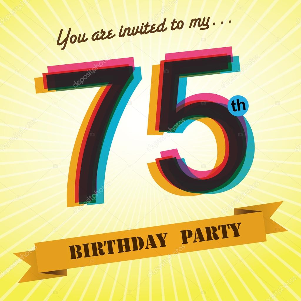 75th Birthday party invite template design in retro style Vector