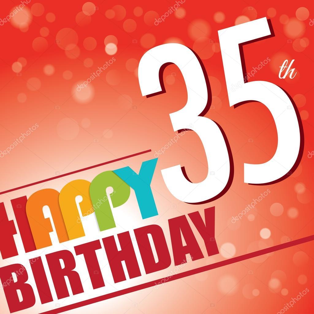 35th Birthday Party Invitetemplate Design In Bright And Colourful Retro Style