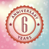 Fotografie 6 Years Anniversary - Retro style seal, with colorful bokeh background EPS 10 vector