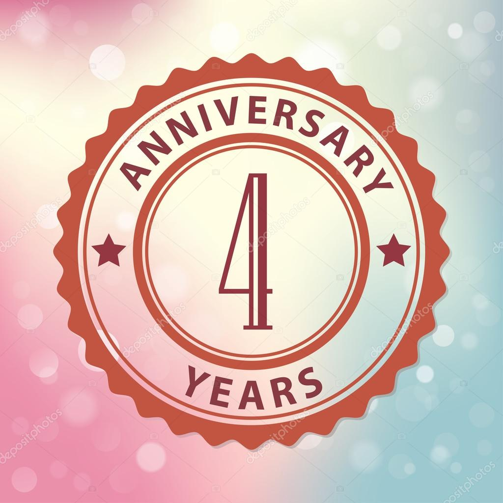 4 Years Anniversary Retro Style Seal With Colorful Bokeh Background Eps 10 Vector Stock Vector C Harshmunjal 51532221