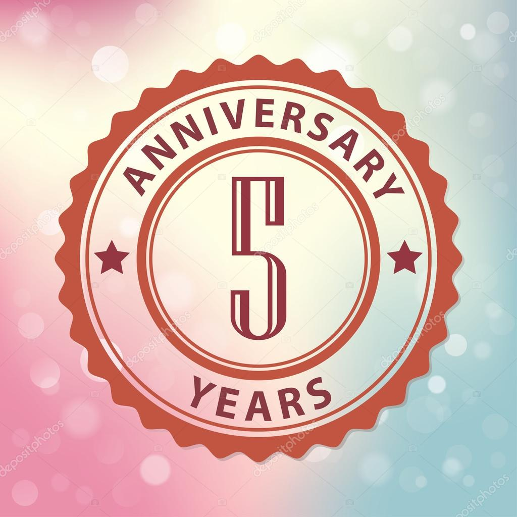 5 years anniversary retro style seal with colorful bokeh 5 years anniversary retro style seal with colorful bokeh background eps 10 vector stock illustration biocorpaavc Gallery