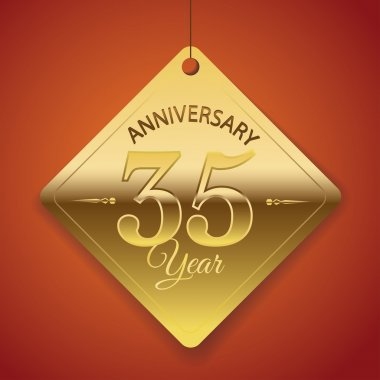 35 Years Anniversary poster , template, tag design Vector
