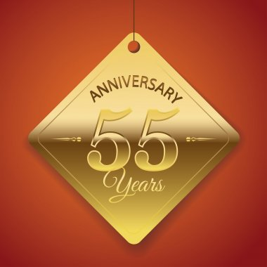 55 Years Anniversary poster , template, tag design Vector