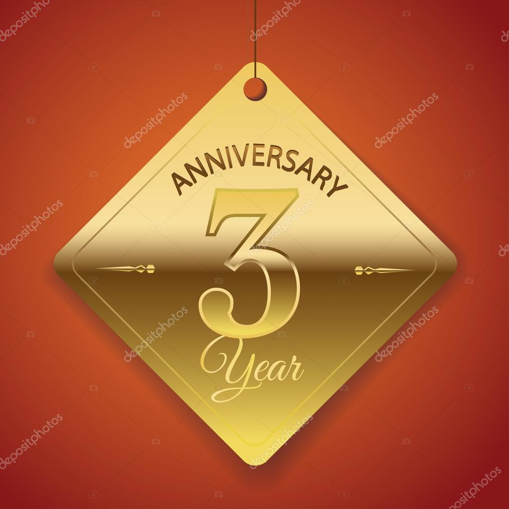 3 Years Anniversary poster , template, tag design Vector