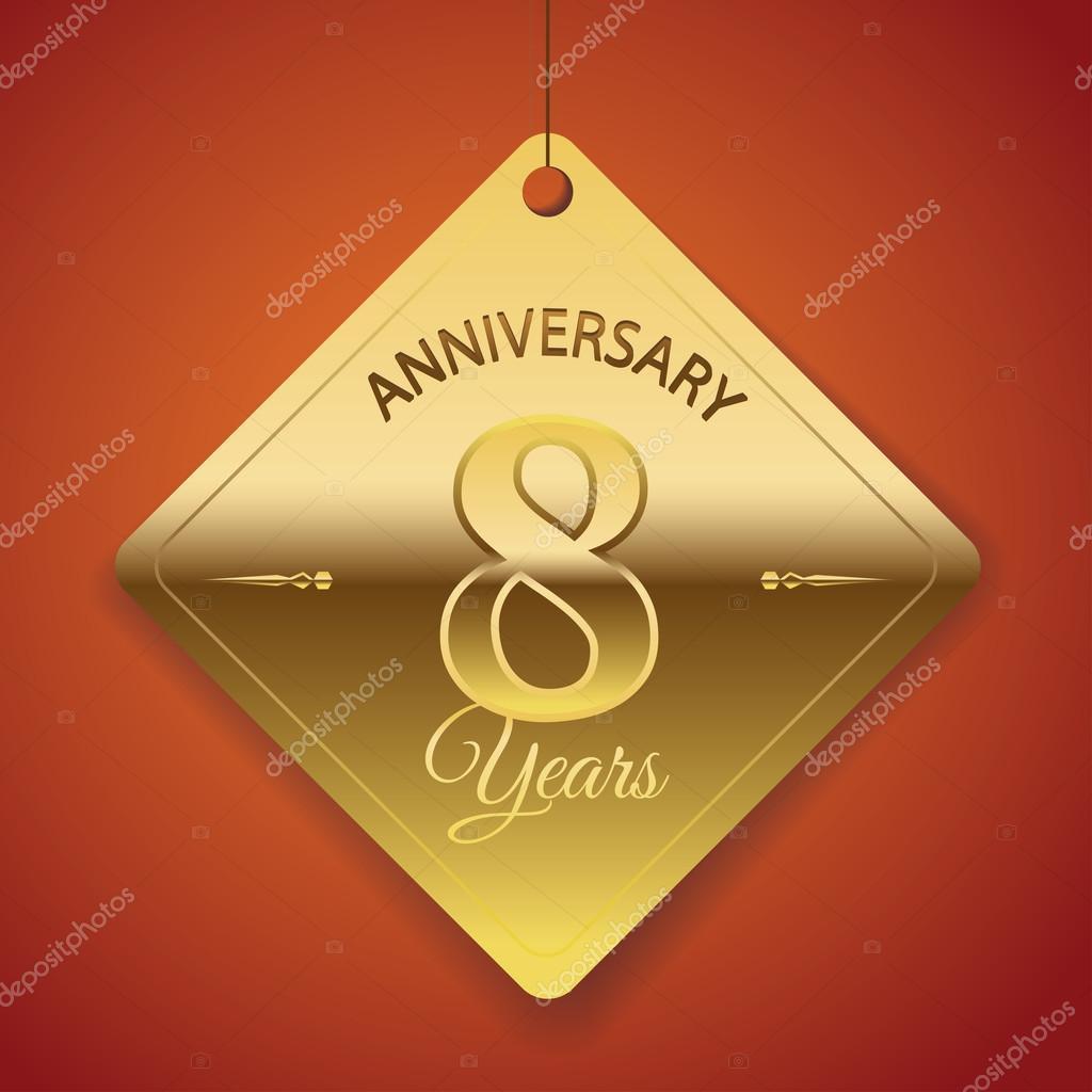 8 Anniversario Di Matrimonio.8 Years Anniversary Poster Template Tag Design Vector Stock
