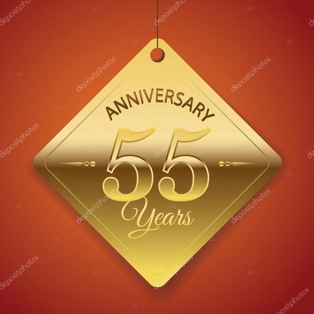 55 Anniversario Di Matrimonio.55 Years Anniversary Poster Template Tag Design Vector Stock