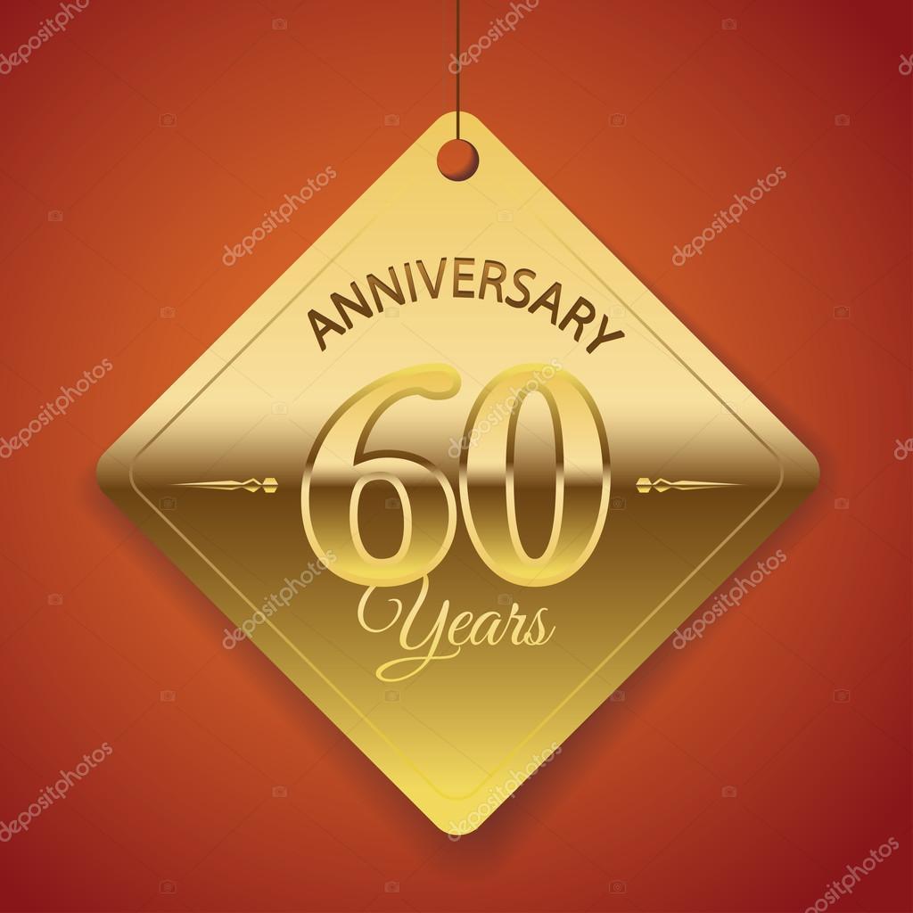 60 Jaar Verjaardag Poster Sjabloon Tag Ontwerp Vector