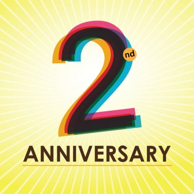 2 Years Anniversary poster , template, tag design Vector