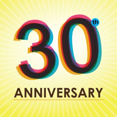 30 Years Anniversary poster , template, tag design Vector