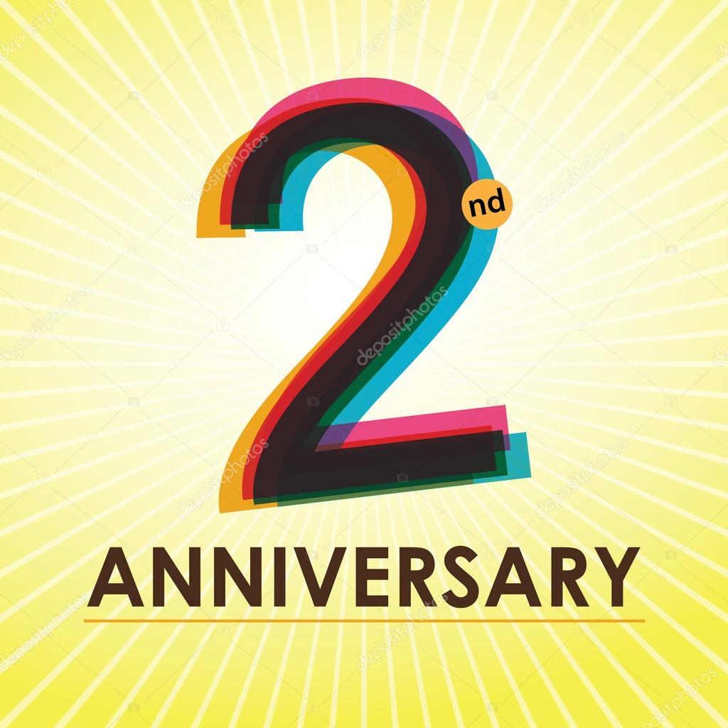2 Years Anniversary poster , template, tag design Vector — Stock