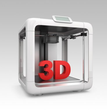Compact personal 3D printer on gradient background