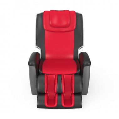 Black and red leather reclining massage chair isolated on white background