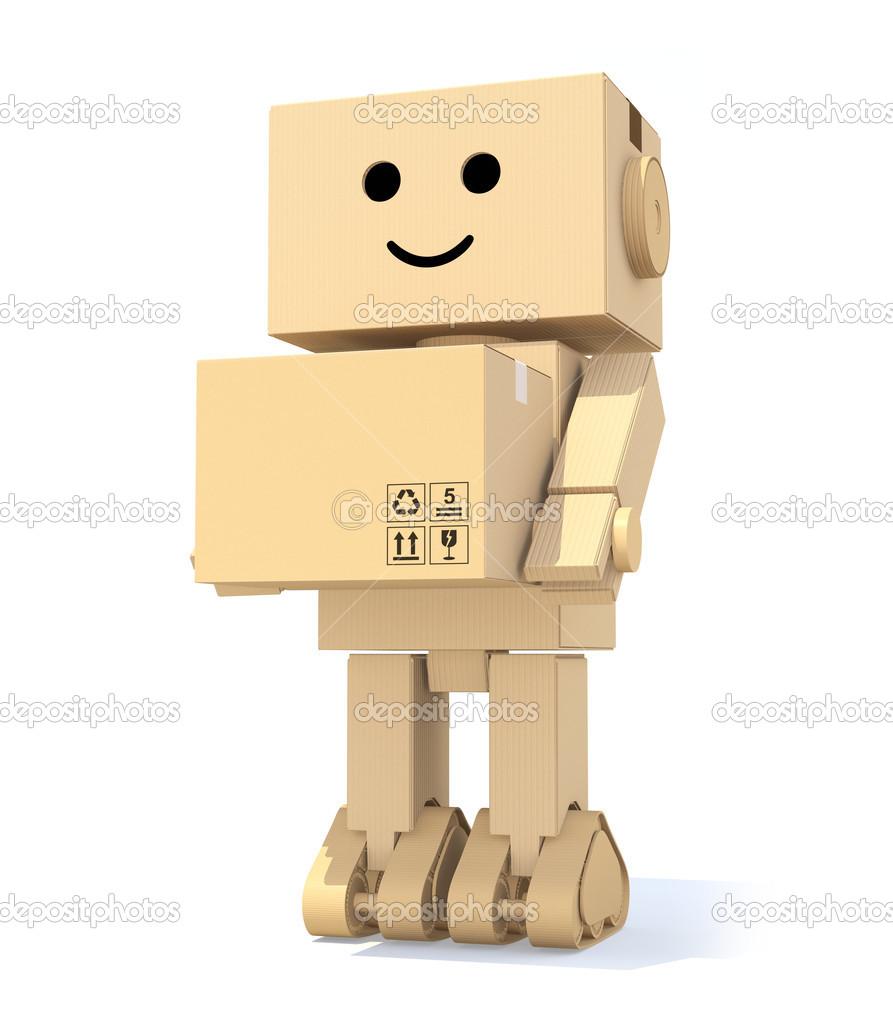 robot de cart n lindo llevando una caja foto de stock chesky w 46341381. Black Bedroom Furniture Sets. Home Design Ideas