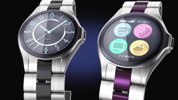 Luxury smart watches on dark background