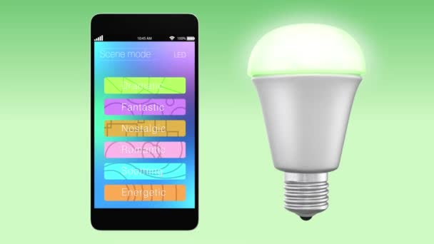 Smartphone app controlling LED lighting to change color