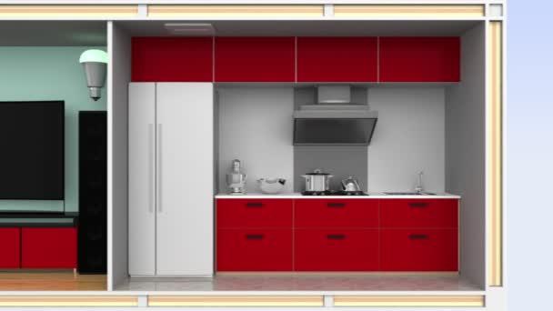 inteligentní dům s energeticky účinných zařízení, solární panely a domácí baterie úložný systém